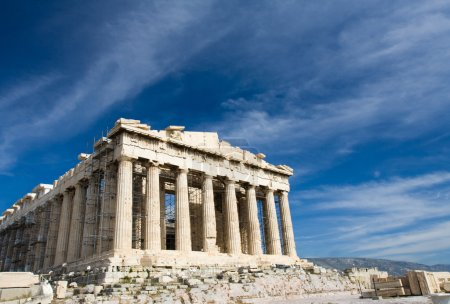 Photo for Facade of ancient temple Parthenon in Acropolis Athens Greece on the blue sky background - Royalty Free Image