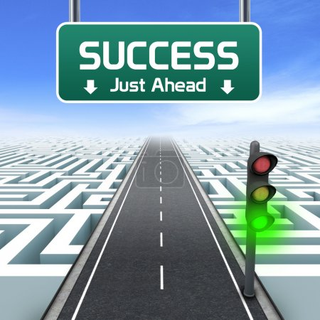 Leadership and business vision with strategy in corporate challenges. Road sign. Green traffic light.