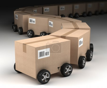 Photo for Shipping, logistics and delivery concept, cardboard boxes - Royalty Free Image