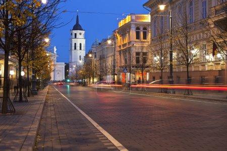 Gediminas Avenue in Vilnius at night