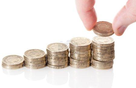 British pound sterling coins stack