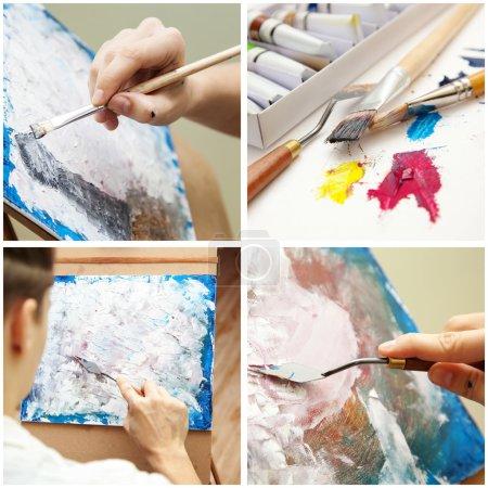 El artista pinta un cuadro. Collage. .