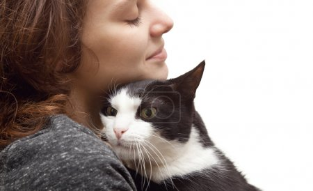 beautiful young woman  with monochrome black and white cat isola