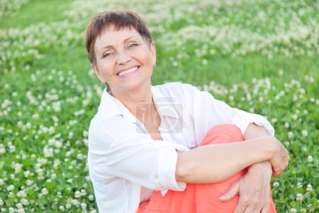 Woman relax on grass