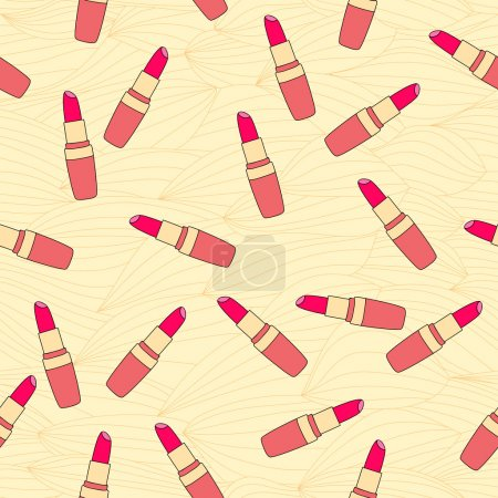 Seamless pattern composed of lipstick