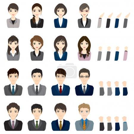 Businessman / Businesswoman / Face / Illustration