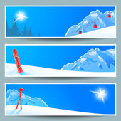 Set of banners with sunny winter landscape