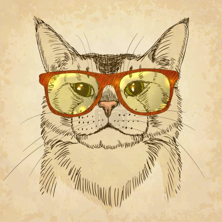 Illustration for Hand-drawn cat with eyeglasses. Vector illustration, eps10 - Royalty Free Image