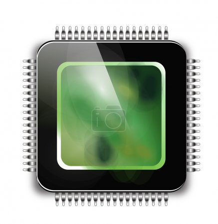 Illustration for CPU - Computer chip or microchip. Stylized icons - Royalty Free Image