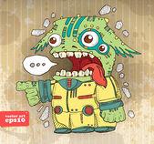 funny alien invader vector illustration