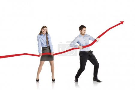 Woman and man with statistics curve