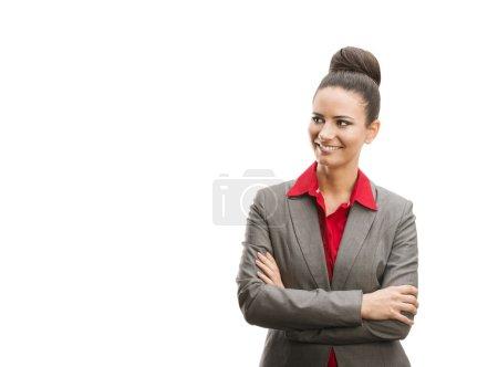 Foto de Mujer de negocios profesional en camisa moderna. Aislado sobre fondo blanco . - Imagen libre de derechos