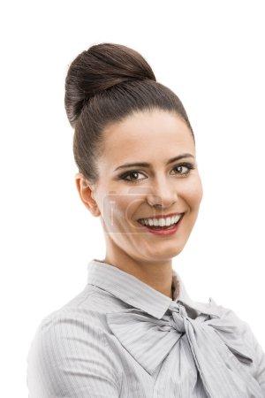Photo pour Femme d'affaires professionnelle en chemise moderne. Isolé sur fond blanc . - image libre de droit