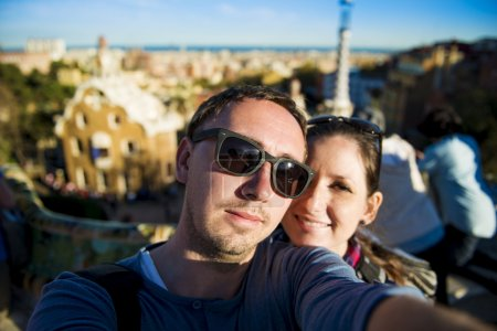 Tourist couple in Parc Guell