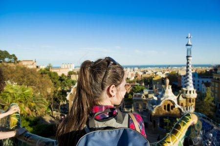 Woman looking on urban landscape