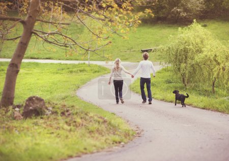 Couple taking a walk in park