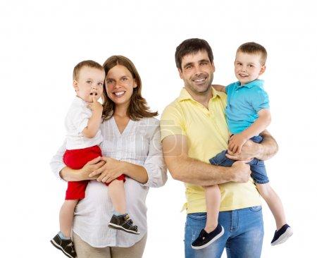 Photo for Happy family with two children isolated on white background - Royalty Free Image