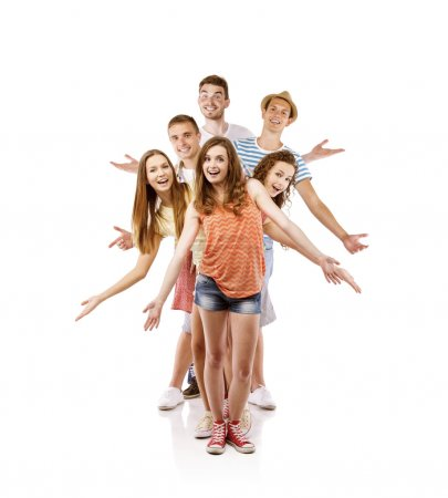 Photo for Group of happy young teenager students standing, isolated on white background. Best friends - Royalty Free Image