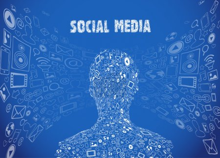 Illustration for Vector illustration of social media communication with icons - Royalty Free Image