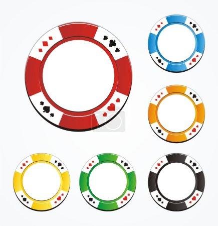 Blank poker chips vector