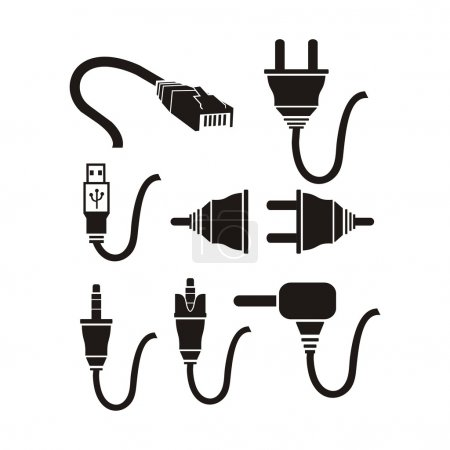 Plug cable icons sets