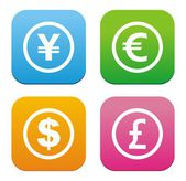 Currency icons - flat style icons