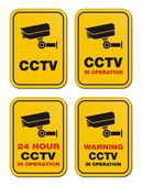 24 hour CCTV in operation - yellow signs