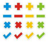 Plus minus check cross sticker sets