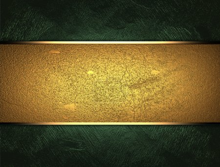 Photo for The template for the inscription. Green background with a gold nameplate for writing - Royalty Free Image
