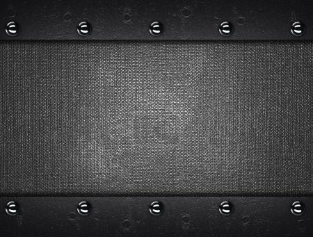 Metal Background with metal plates with rivets at the edges