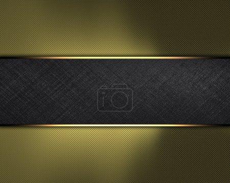 Photo pour Le modèle pour l'inscription. Arrière-plan or avec plaque nom noir pour l'écriture . - image libre de droit