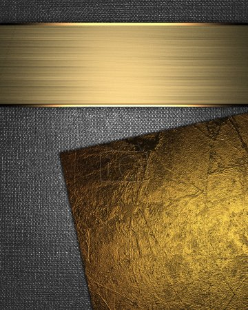 Abstract iron background with inserts of gold color for writing.