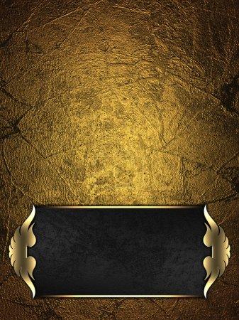 Photo pour Modèle de conception - Arrière-plan en or avec plaque noire et une belle garniture en or - image libre de droit
