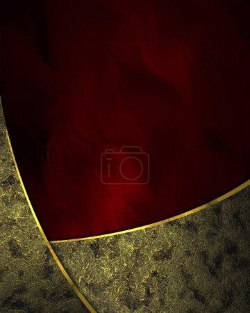 Photo pour Modèles de conception - fond rouge avec rubans en or et garniture en or . - image libre de droit