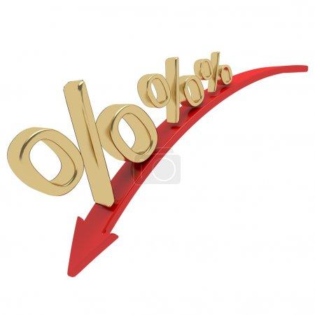 Photo pour Symbole de pourcentage doré brillant avec une flèche vers le bas - image libre de droit