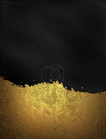 Photo for Gold nameplate with gold trim on black background. Design template - Royalty Free Image
