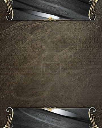 Photo pour Fond brun grunge avec bords noirs et garniture dorée. Modèle de conception - image libre de droit