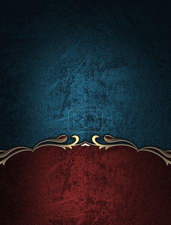 Photo pour Fond bleu avec signe rouge avec bordure dorée. Modèle de conception - image libre de droit