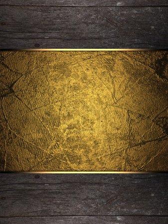 Photo pour Fond de bois avec plaque d'or. Modèle de conception. Site de conception - image libre de droit