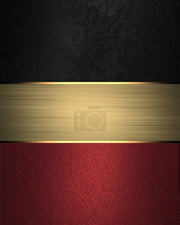 Grunge black background with red bottom with gold nameplate. Template for design. Template