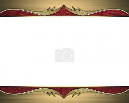 Photo pour Cadre de bords dorés avec des ornements dorés sur un ruban rouge. Modèle de conception. Site de conception - image libre de droit