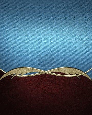 Photo pour Abstrait bleu avec garniture de fond rouge et or. modèle de conception. site design - image libre de droit