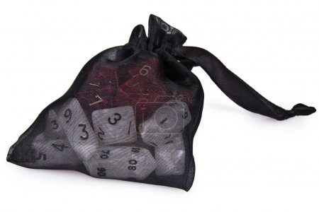 Photo for Shot of a bag of several polyhedral dice isolated over white. - Royalty Free Image