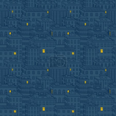 Vector city seamless pattern