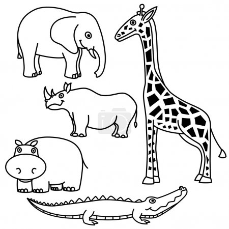 Illustration for Set of outlines of animals on white background, vector illustration - Royalty Free Image