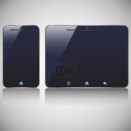 Illustration for Illustration of colored dark smart phone and tablet which are off with shadows - Royalty Free Image