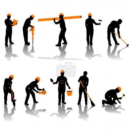 Illustration pour Petit ensemble de différents types de constructeurs. toutes les silhouettes en noir et orange - image libre de droit