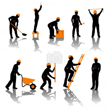 Illustration for Small set of different types of builders. all silhouettes in black and orange color - Royalty Free Image