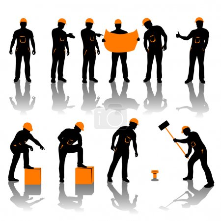 Illustration for Set of different types of workers. all in black and oranfe color - Royalty Free Image