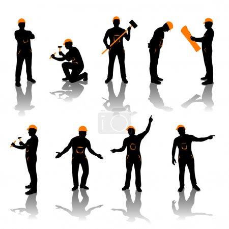 Illustration pour Ensemble de différents types de travailleurs. tout en noir et couleur oranfe - image libre de droit
